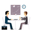 business people two men at the table negotiating vector image vector image