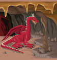 cave interior background with dragon greek vector image vector image