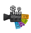 clapper board with tickets vector image vector image