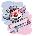 Clown Holding a Label Baby Colors vector image vector image