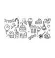 collection birthday elements hand drawn vector image vector image