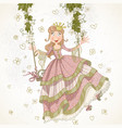 cute princess swinging on swing drawing vector image