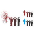disintegrating pixel halftone army squad icon vector image vector image