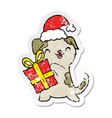 distressed sticker of a cute cartoon puppy with vector image vector image