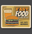fastfood on road bistro cheeseburger coffee vector image