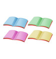 four books with different color pages vector image vector image