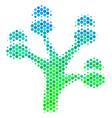 halftone blue-green money tree icon vector image vector image