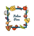 hand drawn pizza ingridients vector image vector image