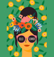 hello summer cute lady in vector image