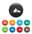 ice mountain icons set color vector image vector image