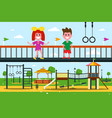 kids on playground flat design city park cartoon vector image vector image