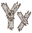 letter y from wooden planks alphabet picture for vector image vector image