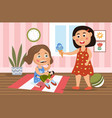 little girl in a bad mood breaking her doll