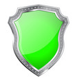 metal shield with green glass plate vector image vector image