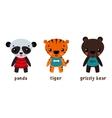Panda or koala grizzly bear and tiger animals vector image vector image