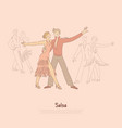 passionate man and woman performing salsa young vector image