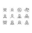 people age flat line icons set growth stage vector image vector image