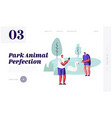 people spend time in open air animal park vector image vector image