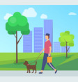 person going with dog character with pet vector image vector image