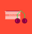 pixel icon in flat style cherry sauce vector image vector image