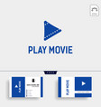 play button cinema movie simple logo template vector image