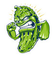 powerful cucumber mascot art vector image