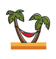red hammock tied to palms on sandy beach vector image