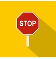 Red stop road sign icon flat style vector image vector image