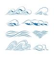 sea waves icons vector image vector image