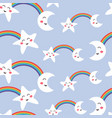seamless pattern funny kawaii cloud on rainbow vector image vector image