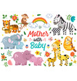 set isolated animals mother with baby part 1 vector image