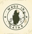 Stamp with map of Qatar vector image