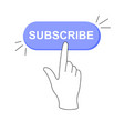 sticker online subscribe button click on white vector image