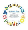summer rest banner card circle vector image