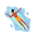 surfing man floating on surfboard in ocean or sea vector image