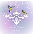Two tits on Christmas background vector image vector image