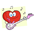 Valentine Heart Character Guitarist Playing A Song vector image