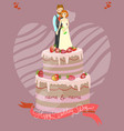 wedding cake with bride and groom vector image