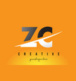 zc z c letter modern logo design with yellow vector image vector image