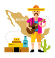travel concept mexico flat style colorful vector image