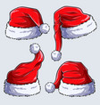 4 christmas santa claus hats on white background vector image vector image
