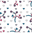 abstract branches with hearts and flowers hand vector image vector image
