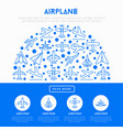 airplane concept in half circle vector image vector image