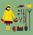 autumn girl with gardening instruments vector image vector image