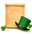 Background with St Patricks Day hat with clover vector image vector image