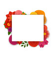 blank white frame with color flowers template vector image vector image