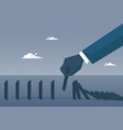 business man hand chart bar falling economic fail vector image vector image
