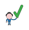 businessman character holding check mark color vector image