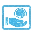 Call Center Service Icon Rubber Stamp vector image vector image