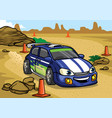 cartoon rally car drive in the desert vector image vector image